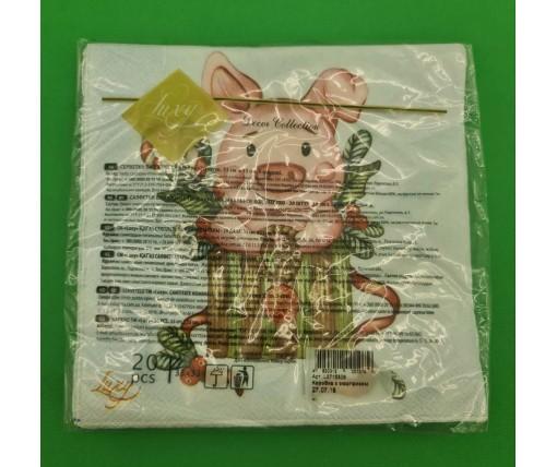 Новогодняя салфетка (ЗЗхЗЗ, 20шт) LuxyНГ Коробка с сюрпризом(1232) (1 пач)