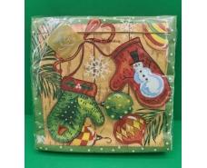 Праздничная салфетка (ЗЗхЗЗ, 20шт) LuxyНГ Новогодние рукавички(1233) (1 пач)