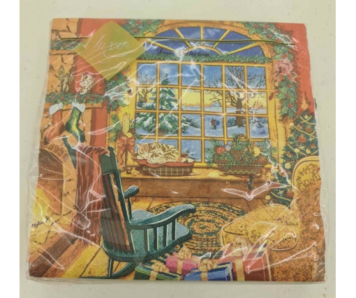 Новогодняя салфетка (ЗЗхЗЗ, 20шт) LuxyНГ Рождественская атмосфера(1241) (1 пач)