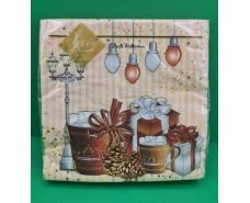 Праздничная салфетка (ЗЗхЗЗ, 20шт) LuxyНГ Рождественский напиток(1225) (1 пач)