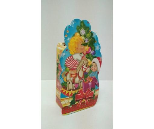 Новогодняя коробка для конфет №205а(Ангелочки на синем 700) (25 шт)