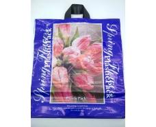 Пакет с петлевой ручкой (47*49) Розовые тюльпаныНаксан (25 шт)