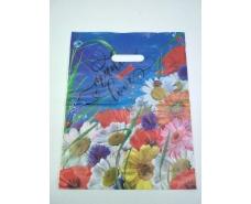 """Пакет с прорезной ручкой (30*37+3) Цветы """"Букет ромашек""""   (50 шт)"""