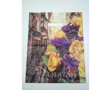 """Пакет с прорезной ручкой (30*37+3) Цветы """"Рандеву""""  (50 шт)"""