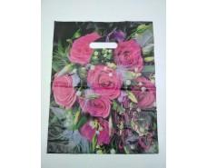 Пакет с прорезной ручкой (30*37+3) Цветы