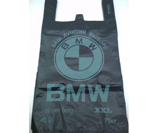 """Пакет крепкий с ручками (тип майка)  43х75 """" BMW  Леоми (50 шт)"""