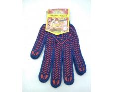 Хозяйственные перчатки плотные синяя (10кл/3н) (10 пар)