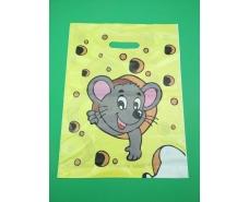 Пакеты с вырубной ручкой (30*37+3)Мышка в сыре Леоми (50 шт)