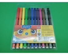 Фломастеры разноцветные   тм Марко  (12цветов ) (1 пач)