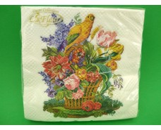 Салфетка (ЗЗхЗЗ, 20шт)  La Fleur Папугай в цветочках(1252) (1 пач)