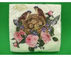 Салфетка (ЗЗхЗЗ, 20шт)  La Fleur Птичье гнездышко(1253) (1 пач)