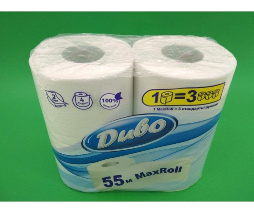 Бумага туалетная  белая (а4) Диво MAX Roll 55 метров (2 слоя) (1 пач)