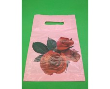 """Пакеты с вырубной ручкой (20*30)п """"Роза розовая """"  (50 шт)"""