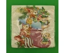 "Салфетка (ЗЗхЗЗ, 20шт)  La FleurНГ ""Мышки в подарках(3002) (1 пач)"