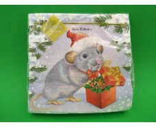 Салфетка (ЗЗхЗЗ, 20шт) LuxyНГ Мышка с подарком(3005) (1 пач)
