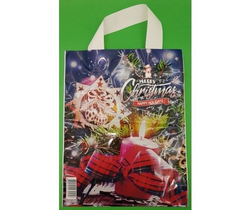 """Новогодний Пакет ламинированный с петлевой ручкой маленький  """"Счасливое Рождество""""  (50 шт)"""
