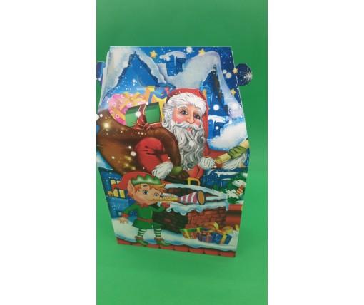 Новогодняя коробка для конфет №230 (Санта и Эльф) на 700грам (25 шт)