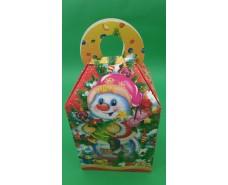 Новогодняя коробка для конфет №215(Девочка и Снеговик на  700грам (25 шт)