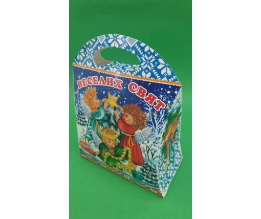 Новогодняя коробка для конфет №239(Веселых праздников)  на 600грам (25 шт)