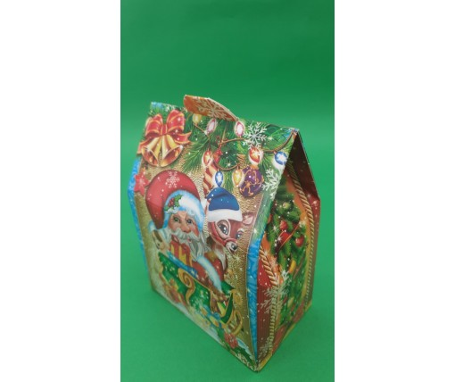 Коробка под конфеты №242 (Санта с оленем) 500грам (25 шт)