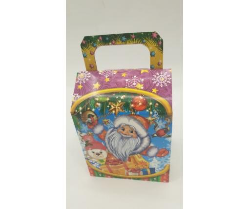 Новогодняя коробка для конфет№238( Санта и снегири)на  400грам (25 шт)