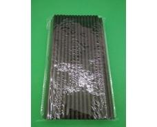 Соломка трубочка бумажная 100шт черная  (1 пач)