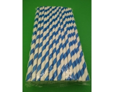 Соломка трубочка бумажная 100шт Синяя    (1 пач)