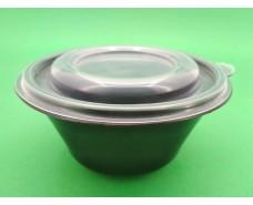 Супная емкость 500 мл, чёрная с крышкой, ПП-117-350 (50 шт)