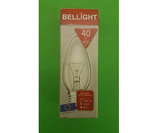"""Лампа-свеча прозрачная """"BELLIGHT"""" 40W E27 в индивидуальной упаковке  (1 шт)"""