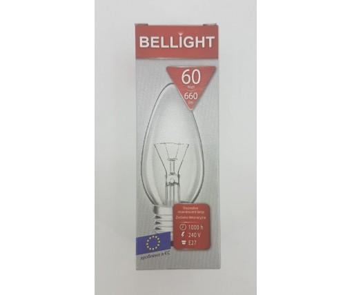 """Лампа-свеча прозрачная """"BELLIGHT"""" 60W E27 в индивидуальной упаковке  (1 шт)"""