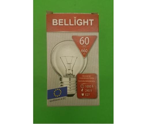 """Лампа-шарик прозрачная """"BELLIGHT"""" 60W E27 в индивидуальной упаковке  (1 шт)"""