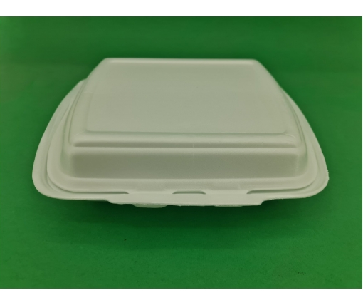 ᐉЛанч-бокс из вспененного полистирола с крышкой (250*210*70) белый HP-2 125штук в мешке