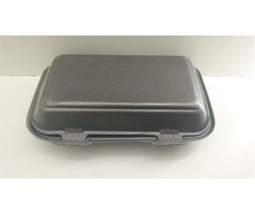 ᐉЛанч-бокс из вспененного полистирола с крышкой (246*150*60) Черный HP-10 250штук в мешке