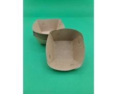 Тарелка лодочка крафт с ламинацией 100*100*45 (100 шт)