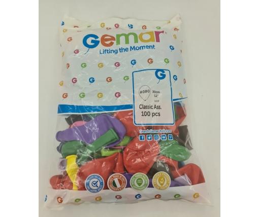 """Воздушные шары пастель ассорти 12"""" (30 см) Gemar 100 шт (1 пач)"""
