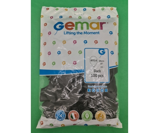 """Надувные шары пастель черный 10"""" (25 см) Gemar 100 шт (1 пач)"""