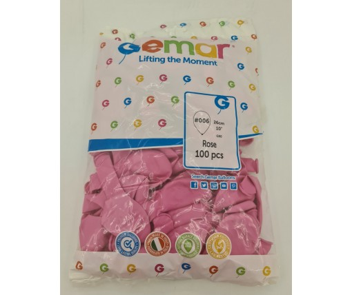 """Воздушные шарики пастель розовый 10"""" (25 см) Gemar 100 шт (1 пач)"""