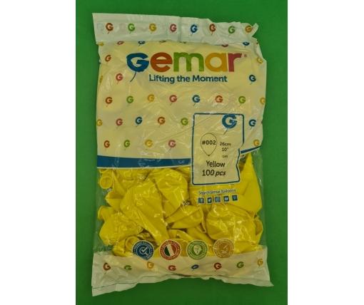 """Воздушные шары пастель желтый 10"""" (25 см) Gemar 100 шт (1 пач)"""