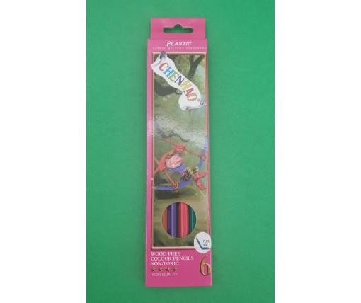 Карандаши цветные набор 6шт Plastic (1 пач)