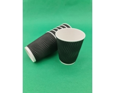 """Стакан бумажный для кофе и чая 250мл """"Гофра"""" """"Черный"""" (20 шт)"""