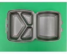 Ланч-бокс из вспененного полистирола с крышкой (220х180х70мм 3-х секционный из ВПС НР-3, черный  (125 шт)