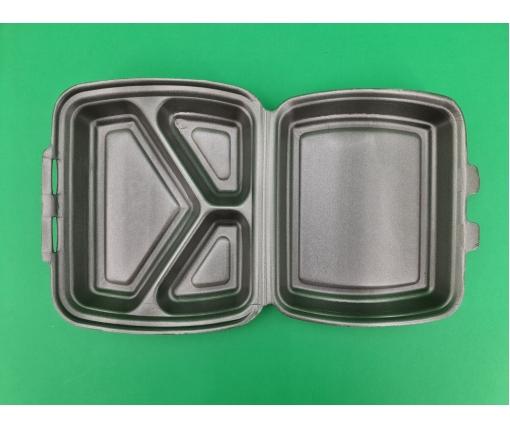 ᐉЛанч-бокс из вспененного полистирола с крышкой (220х180х70мм 3-х секционный из ВПС НР-3, белый 125 штук в мешке