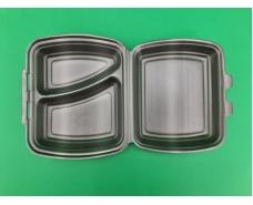 Ланч-бокс из вспененного полистирола с крышкой 2-х секционный (236*179*73*) черный (Р2662\2865) (125 шт)
