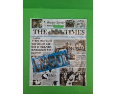 """Пакет с прорезной ручкой (42*52,5+3)""""Газета """"LONDON blue"""" (50 шт)"""