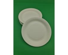 Тарелка бумажная ламинированая 18см рисунок Белая  50шт (1 пач)