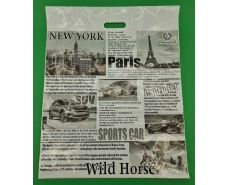 Пакет с прорезной ручкой 49*60 Газета Ренпако (25 шт)