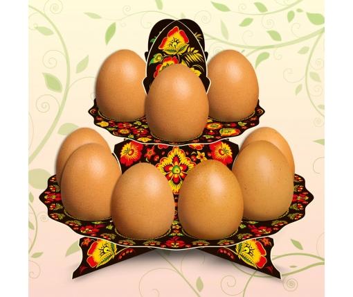 """Декоративная подставка для яиц №12 """"Хохлома"""" (12 яиц) низкая (1 шт)"""