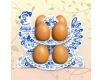 """Декоративная подставка для яиц №8.1 """"Петушок-гжель"""" (8 яиц)  (1 шт)"""