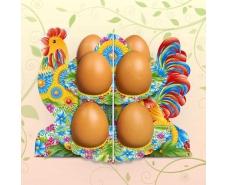 """Декоративная подставка для яиц №8.1 """"Петушок-петриковка"""" (8 яиц)  (1 шт)"""