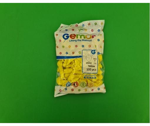 """Воздушные шарики пастель жёлтые 3"""" (8 см) латексные бомбочки 100 шт Gemar (1 пач)"""